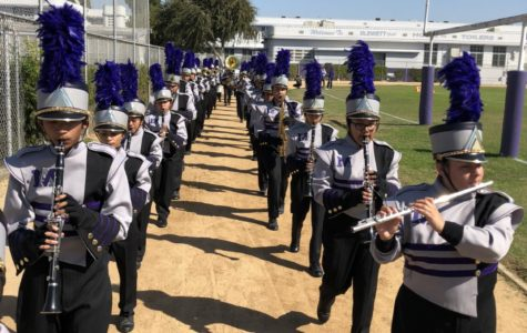 Members of the band march and perform during the Pep Rally.